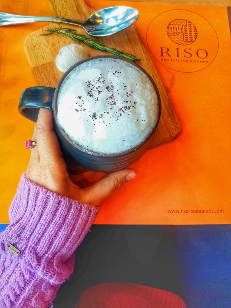 Mushroom cappuccino at Riso restaurant